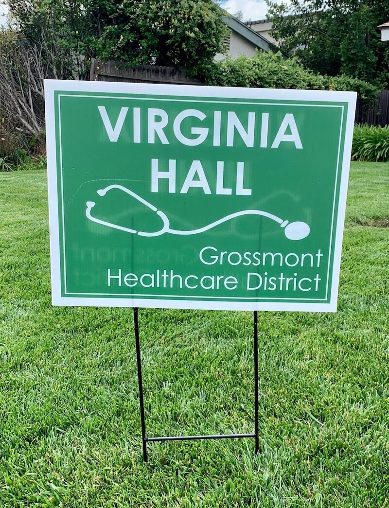 Virginia Hall yard sign